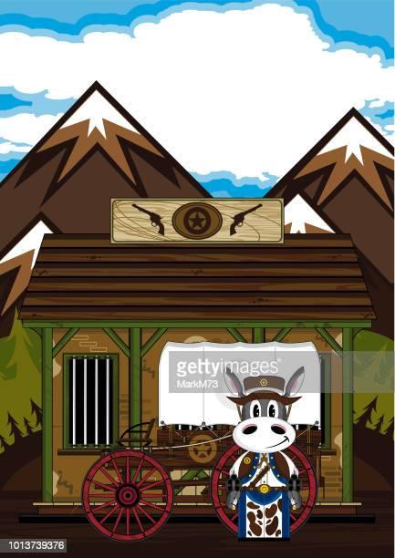 Cartoon Donkey Cowboy at the Jail