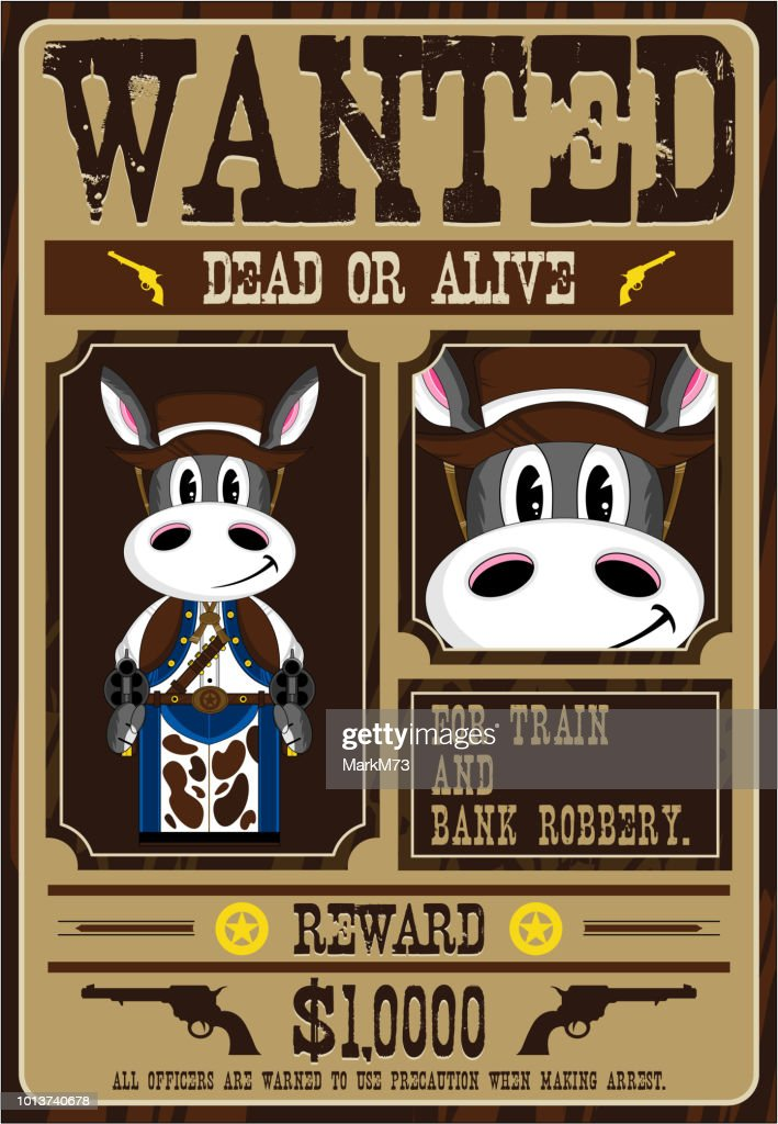 Cartoon Donkey Cowboy Wanted Poster stock illustration - Getty Images