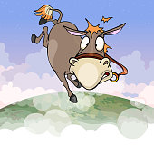 cartoon donkey flying in the air of the earths atmosphere