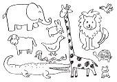 Cartoon doodle animals. Vector illustration.