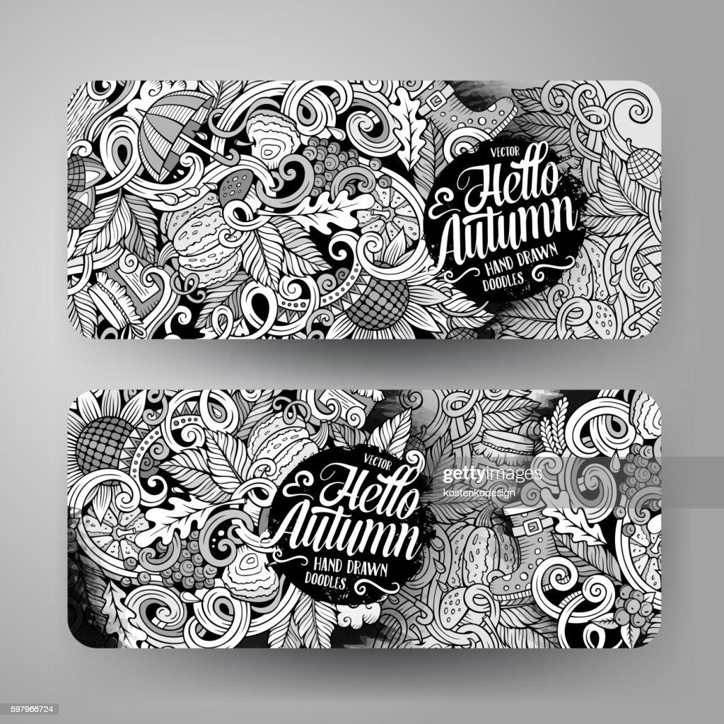 Cartoon doodles Autumn banners