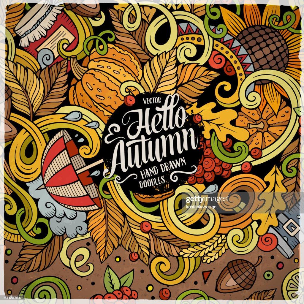 Cartoon doodles Autumn frame design
