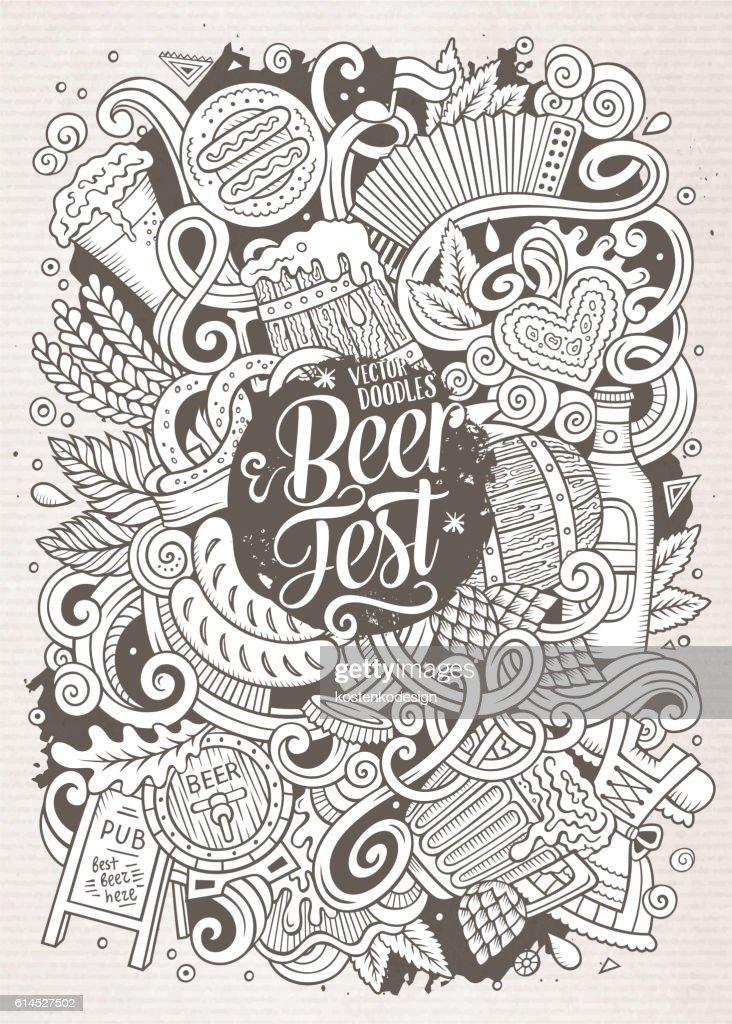 Cartoon doodles Beer fest illustration