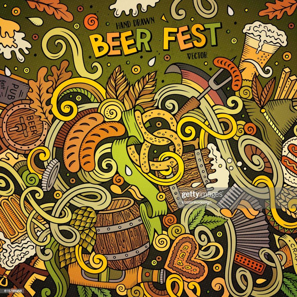 Cartoon doodles Beer frame design