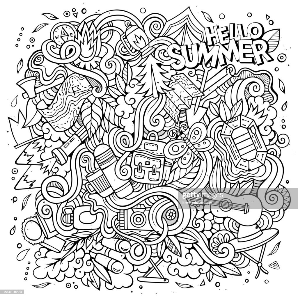 Cartoon doodles camp illustration