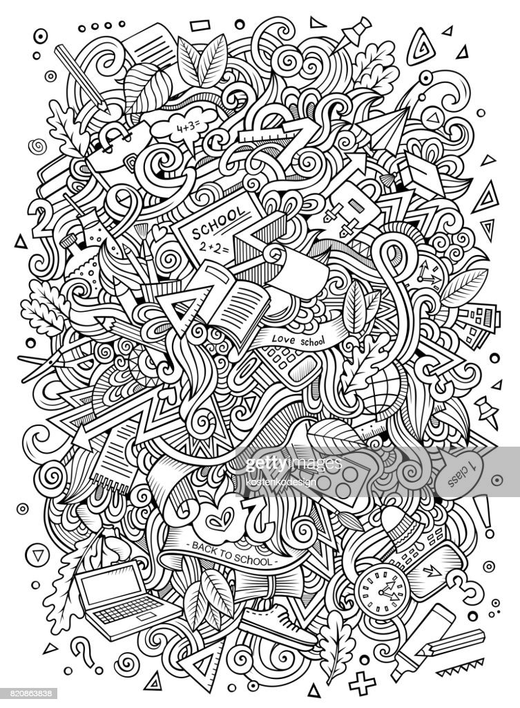 Cartoon doodles hand drawn School illustration