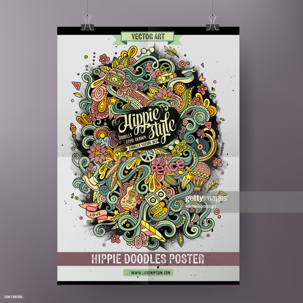 Cartoon doodles hippie poster