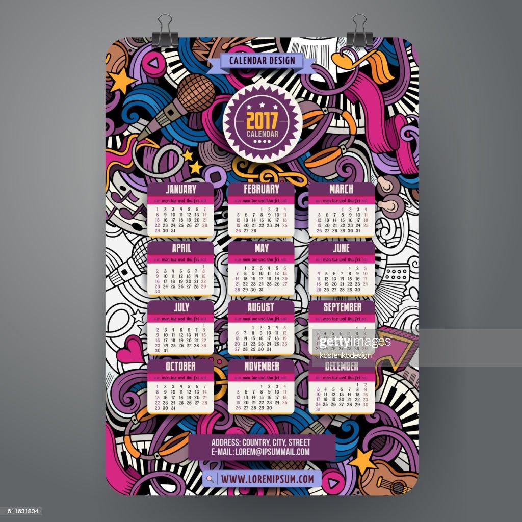 Cartoon doodles Musical 2017 calendar