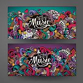 Cartoon doodles Musical banners