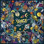 Cartoon doodles space frame