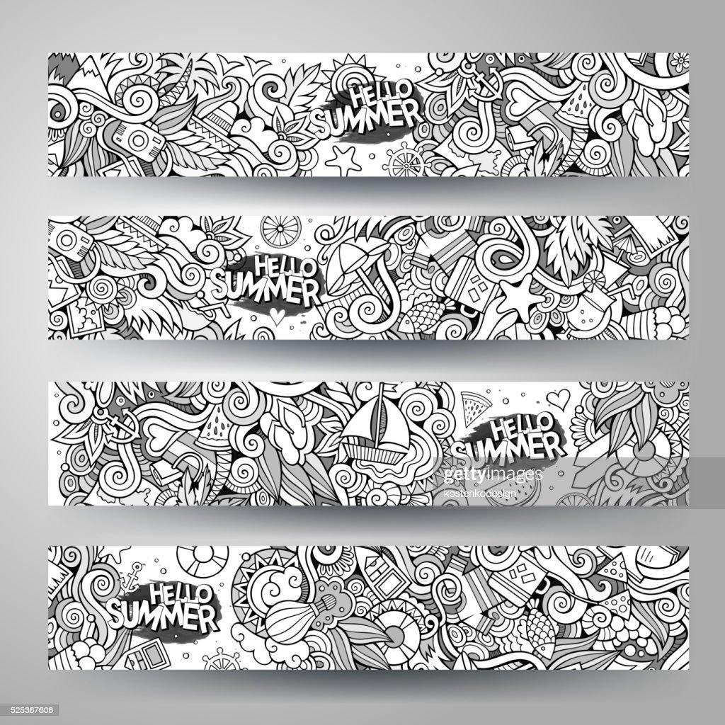 Cartoon doodles summer banners