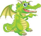 Cartoon Dragon Mascot Pointing