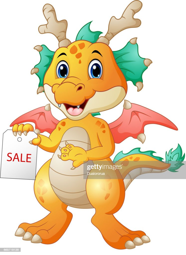 Cartoon dragon with sale sign