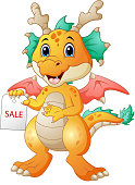 Cartoon dragon with sale sign