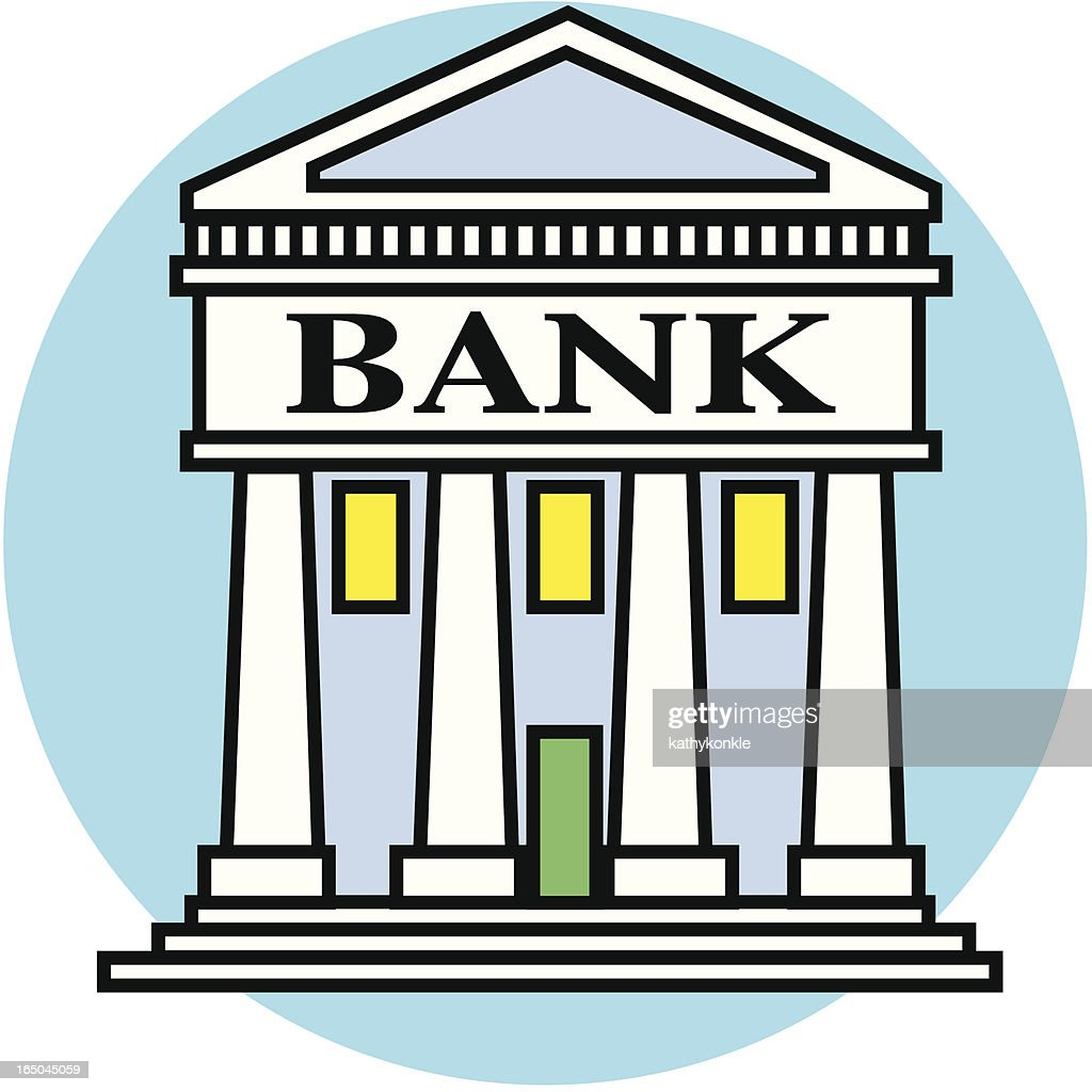 Bank Protection Drawing : Cartoon drawing of a bank vector art getty images