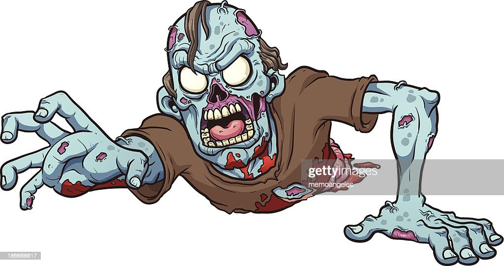 Cartoon drawing of a crawling zombie