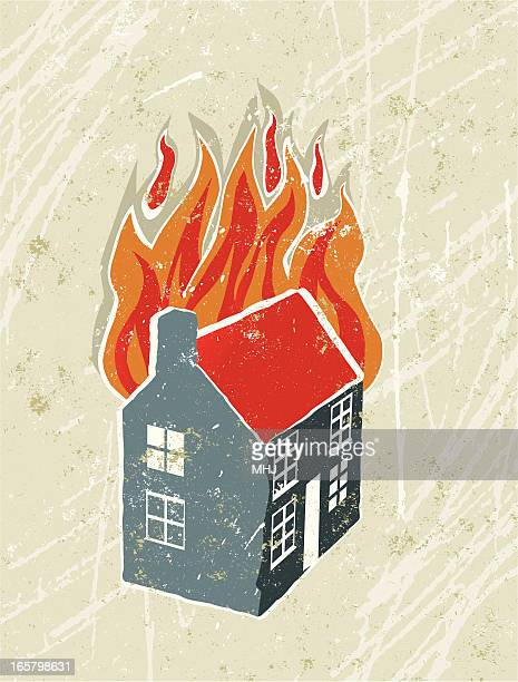 Cartoon drawing of a house on fire with a white background
