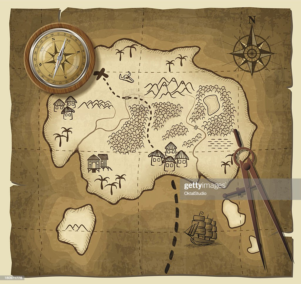 A cartoon drawing of a map with a compass : stock illustration