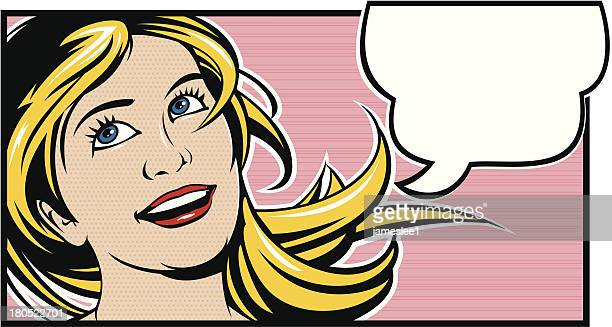 a cartoon drawing of a woman with a blank thought bubble - pop art stock illustrations