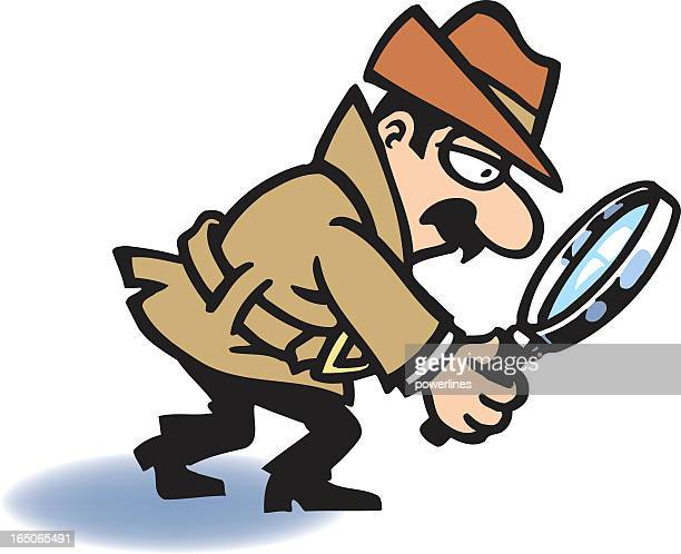 Cartoon drawing of detective with magnifying glass