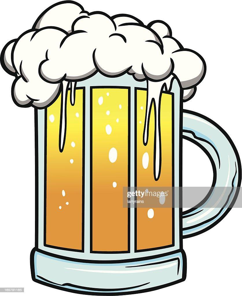 Cartoon drawing of foaming mug of beer