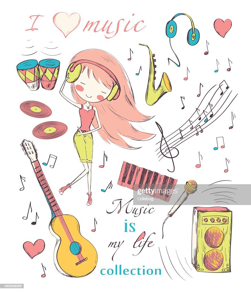 Cartoon drawing of girl with music symbols and instruments