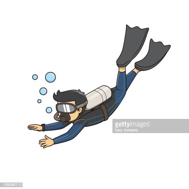 cartoon drawing young men are scuba diving by wearing diving mask orange trousers and fins. - scuba diving stock illustrations