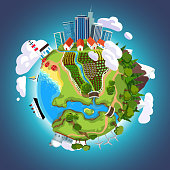 Cartoon Earth globe in space with city skyscrapers, seas, mountains, gardens and buildings on a planet surface. Ecology concept flat style vector