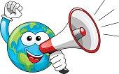 Cartoon Earth Speaking megaphone isolated