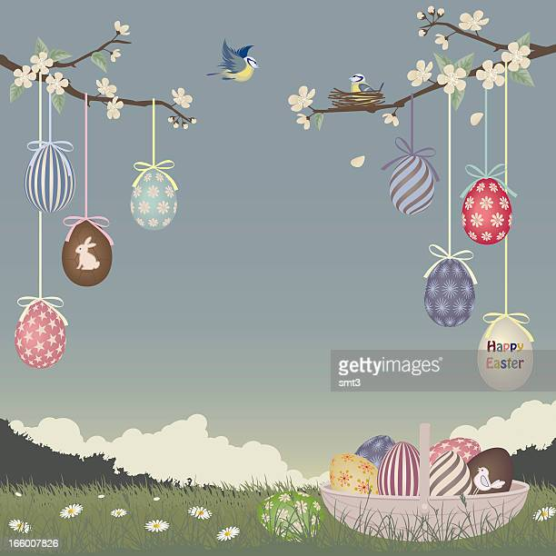 Cartoon Easter egg ornaments hanging off blossoming trees