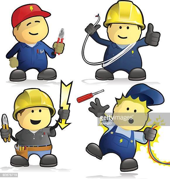 ilustraciones, imágenes clip art, dibujos animados e iconos de stock de de historieta electricistas - electricista
