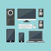 Cartoon Electronic Devices Set. Vector