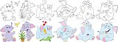 cartoon elephant animals set
