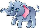 Cartoon elephant isolated vector illustration