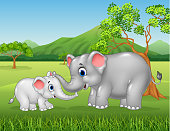 Cartoon elephant mother and calf bonding relationship in the jungle