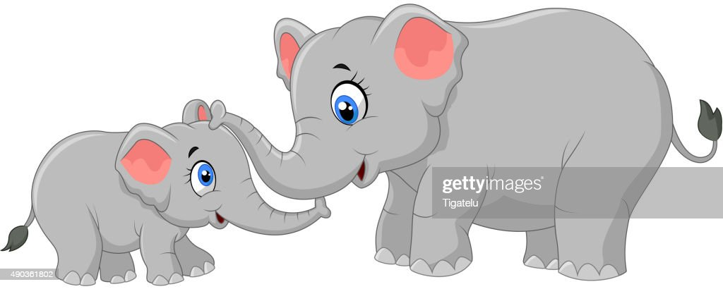 Cartoon elephant mother and calf bonding relationship