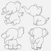 Cartoon Elephant thin lines with different poses and expressions