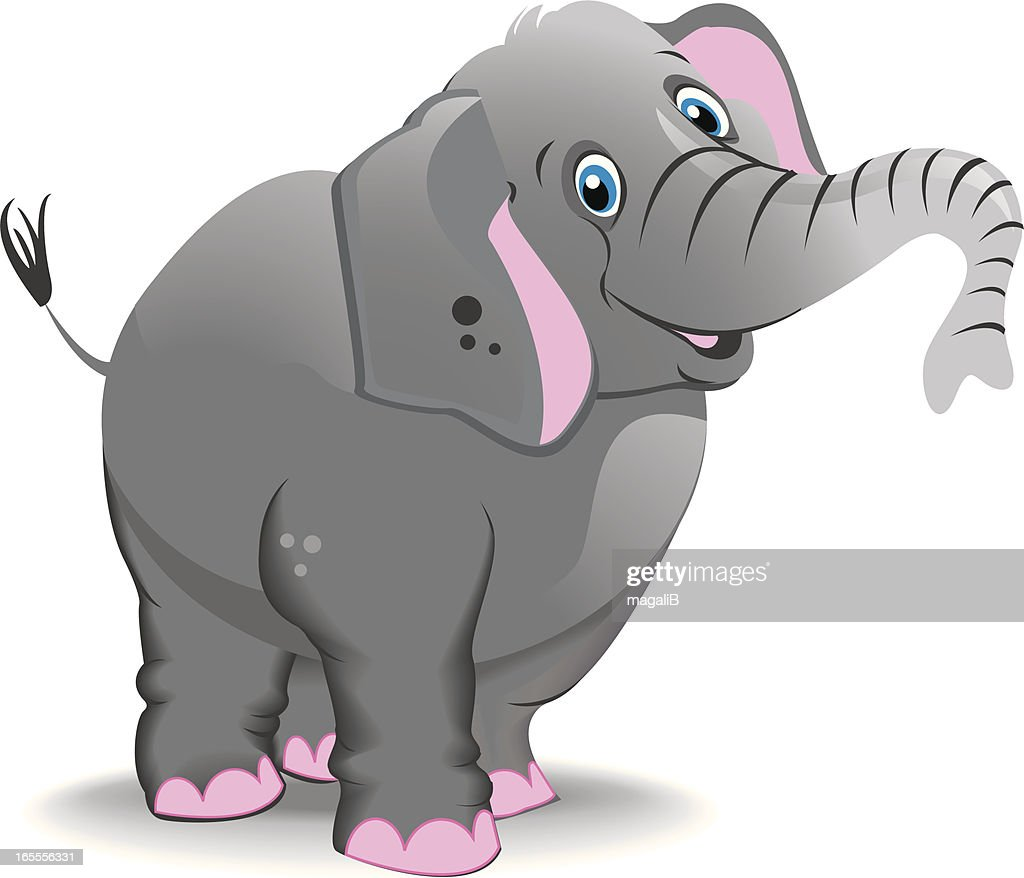 Cartoon elephant with trunk raised on white background