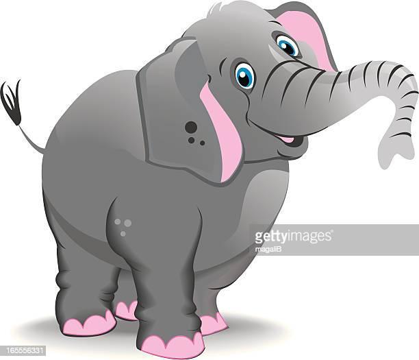 Cartoon elephant with trunk raised on white background
