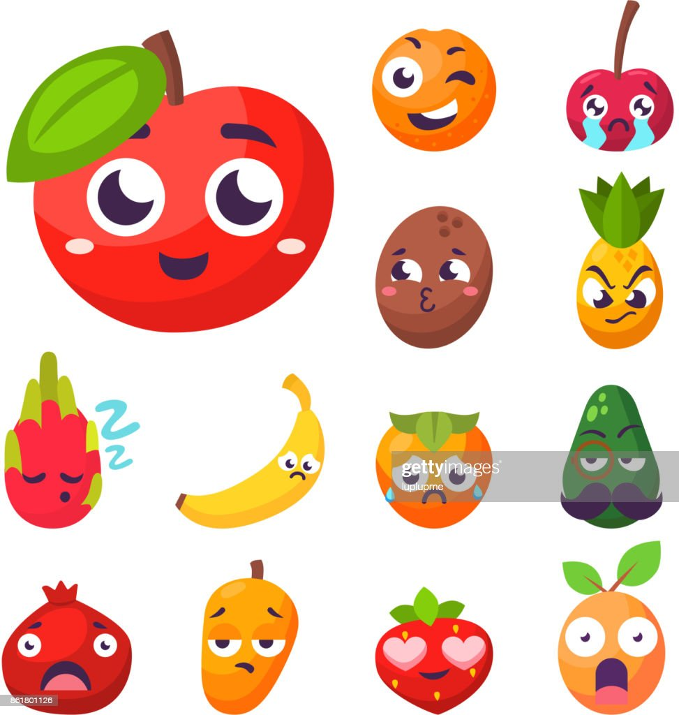 Cartoon emotions fruit characters natural food vector smile nature happy expression juicy mascot tasty design