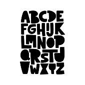 Cartoon English alphabet. ABC. Funny hand drawn graphic font.