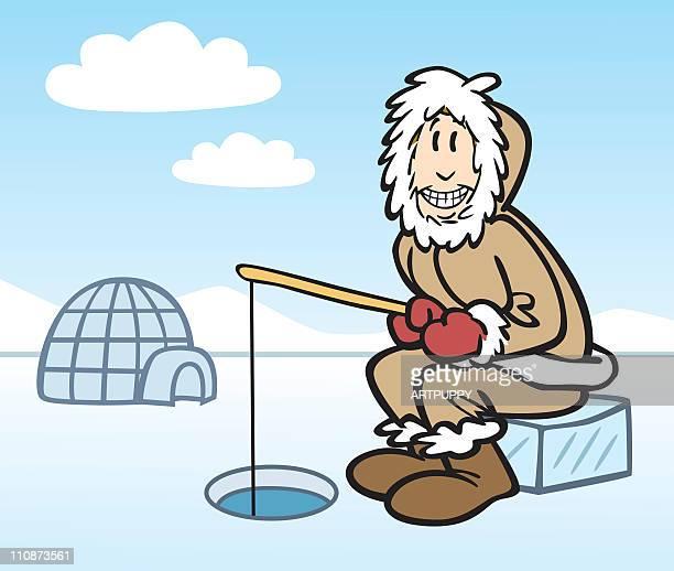 illustrations, cliparts, dessins animés et icônes de dessin animé de pêche du groenland - igloo