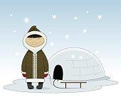 Cartoon eskimo illustration.