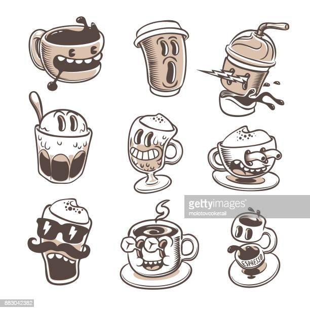 illustrations, cliparts, dessins animés et icônes de jeu d'icônes cartoon expresso - tasse à café