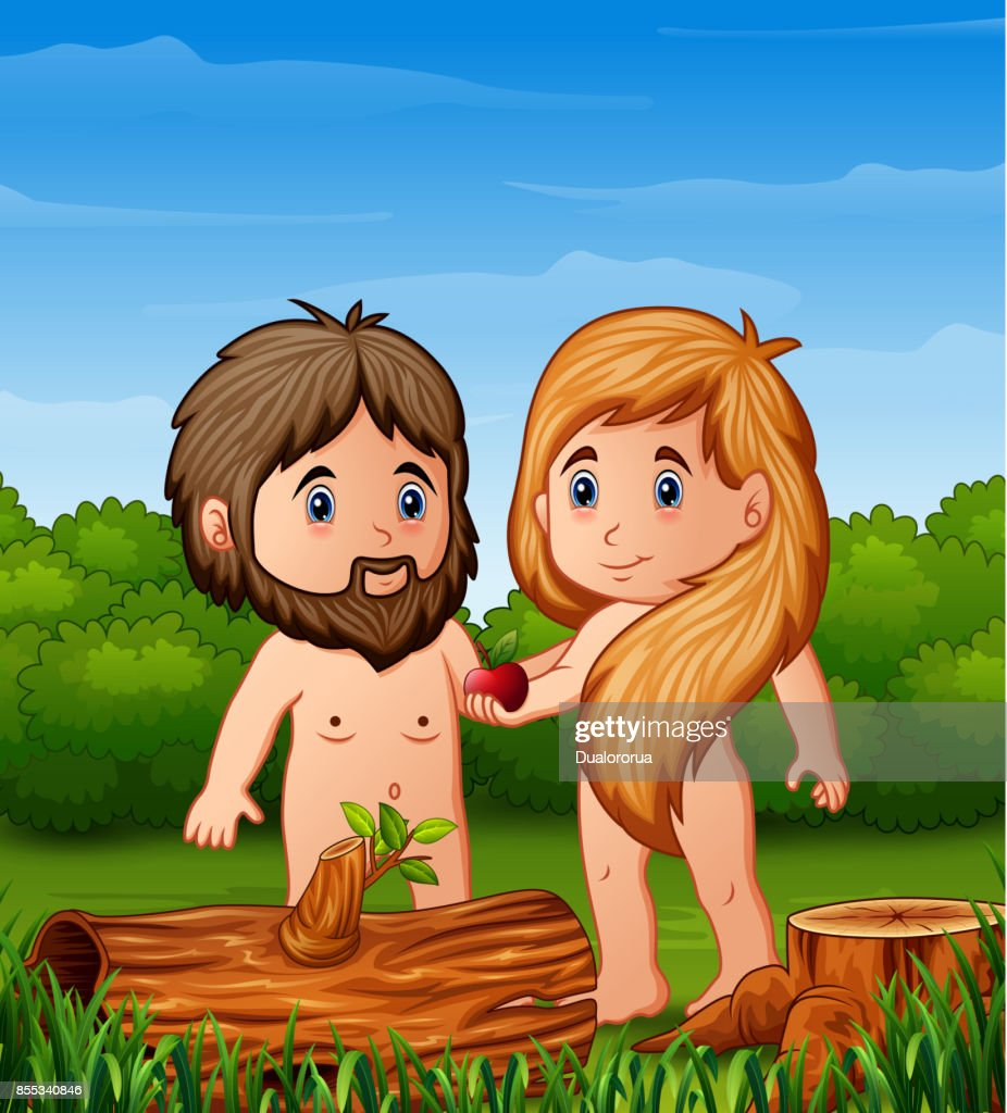 Cartoon Eve offers Adam the apple