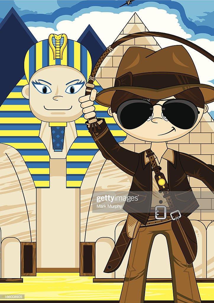 Cartoon Explorer and Egyptian Sphinx Scene