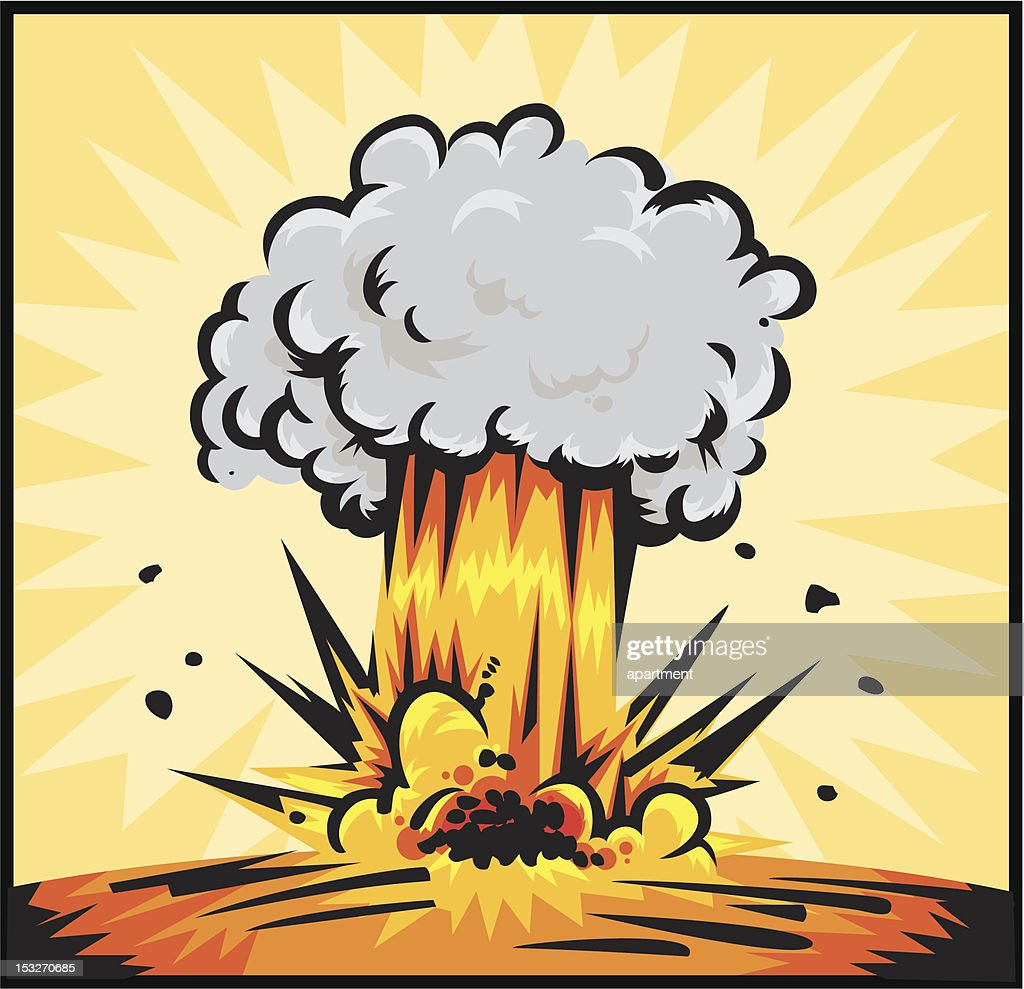 Cartoon explosion causes a huge puff of smoke