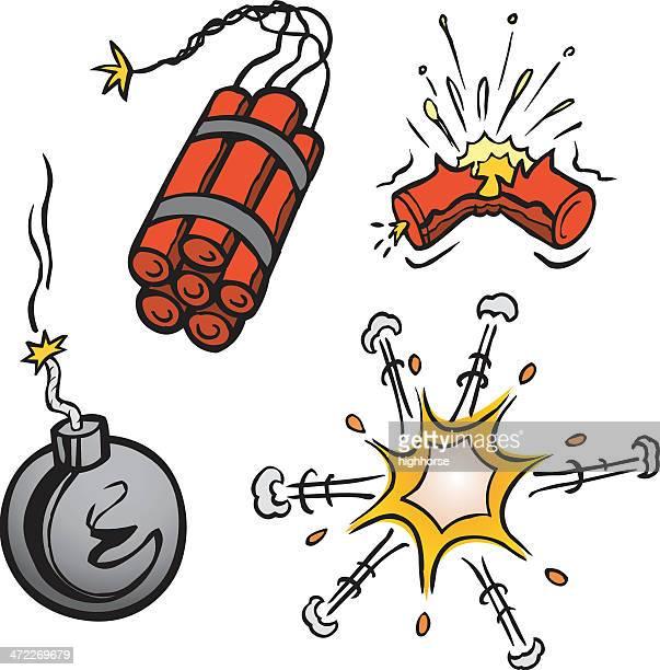 カットイラスト、爆発 - explosive material点のイラスト素材/クリップアート素材/マンガ素材/アイコン素材