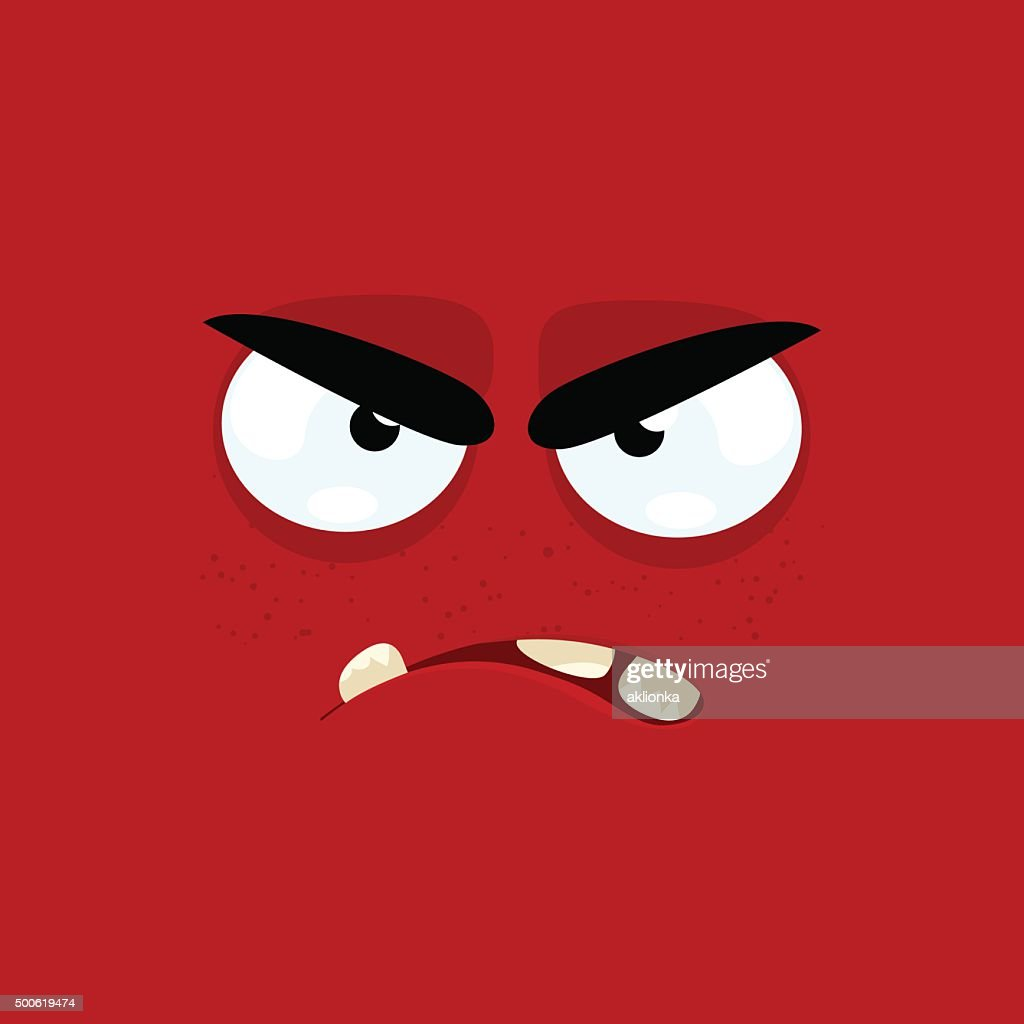 Cartoon face with angry expression