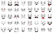 Cartoon faces. Expressive eyes and mouth, smiling, crying and surprised character face expressions vector illustration set